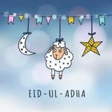 tarjeta de felicitación de la Eid-UL-adha Mubarak con las ovejas, la luna, la estrella y las banderas Festival de comunidad musul Ilustración del Vector