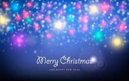 Tarjeta de felicitación de la estrella de la chispa del Año Nuevo de la Feliz Navidad Fotos de archivo