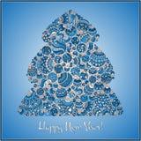 Tarjeta de felicitación de la Feliz Año Nuevo Árbol de navidad Foto de archivo libre de regalías