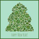 Tarjeta de felicitación de la Feliz Año Nuevo Árbol de navidad Fotos de archivo libres de regalías