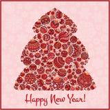 Tarjeta de felicitación de la Feliz Año Nuevo Árbol de navidad del illustra de las bolas Imagen de archivo libre de regalías
