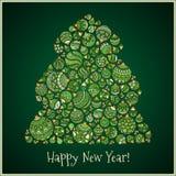 Tarjeta de felicitación de la Feliz Año Nuevo Árbol de navidad del illustra de las bolas Imagen de archivo