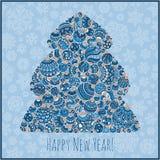 Tarjeta de felicitación de la Feliz Año Nuevo Árbol de navidad del illustra de las bolas Fotografía de archivo