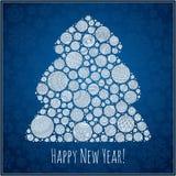 Tarjeta de felicitación de la Feliz Año Nuevo Árbol de navidad del illustra de las bolas Foto de archivo