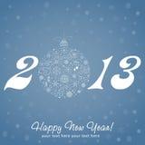 Tarjeta de felicitación de la Feliz Año Nuevo 2013 Fotos de archivo libres de regalías