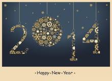 Tarjeta de felicitación de la Feliz Año Nuevo 2014. Fotos de archivo libres de regalías