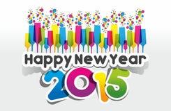 Tarjeta 2015 de felicitación de la Feliz Año Nuevo stock de ilustración