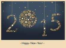 Tarjeta 2015 de felicitación de la Feliz Año Nuevo Imagen de archivo