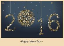 Tarjeta de felicitación de la Feliz Año Nuevo 2016 Fotos de archivo