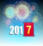 Tarjeta de felicitación de la Feliz Año Nuevo 2017 Fotografía de archivo