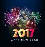Tarjeta de felicitación de la Feliz Año Nuevo 2017 Foto de archivo