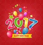 Tarjeta de felicitación de la Feliz Año Nuevo 2017 Imagenes de archivo