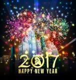 Tarjeta de felicitación de la Feliz Año Nuevo 2017 Fotografía de archivo libre de regalías