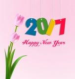 Tarjeta de felicitación de la Feliz Año Nuevo 2017 Fotos de archivo libres de regalías