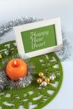 Tarjeta de felicitación de la Feliz Año Nuevo Fotografía de archivo