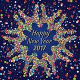 Tarjeta 2017 de felicitación de la Feliz Año Nuevo con confeti colorido Imagen de archivo