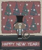 Tarjeta de felicitación de la Feliz Año Nuevo con el mono elegante ilustración del vector