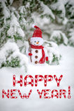 Tarjeta de felicitación de la Feliz Año Nuevo con el muñeco de nieve Imagen de archivo libre de regalías