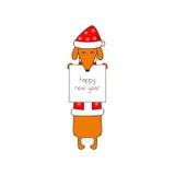 Tarjeta de felicitación de la Feliz Año Nuevo con el perro basset Foto de archivo libre de regalías