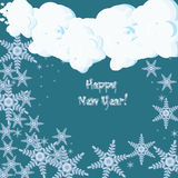 Tarjeta de felicitación de la Feliz Año Nuevo con los copos de nieve que caen Imagenes de archivo