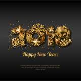 Tarjeta 2018 de felicitación de la Feliz Año Nuevo con números de oro Fondo que brilla intensamente negro del día de fiesta abstr stock de ilustración