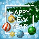 Tarjeta de felicitación de la Feliz Año Nuevo con tipografía Imágenes de archivo libres de regalías