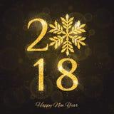 Tarjeta de felicitación de la Feliz Año Nuevo del vector 2018 Foto de archivo