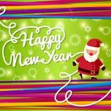 Tarjeta de felicitación de la Feliz Año Nuevo En fondo brillante Imagen de archivo