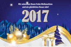 Tarjeta 2017 de felicitación de la Feliz Año Nuevo en lengua alemana Imagenes de archivo