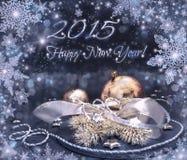 Tarjeta 2015 de felicitación de la Feliz Año Nuevo en plata, oro y negro Fotografía de archivo libre de regalías
