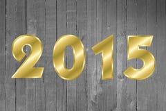 Tarjeta de felicitación de la Feliz Año Nuevo 2015 Fondo de madera Imagen de archivo libre de regalías