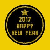 Tarjeta 2017 de felicitación de la Feliz Año Nuevo hecha de partículas del mosaico del oro Fotos de archivo