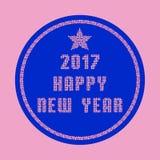 Tarjeta 2017 de felicitación de la Feliz Año Nuevo hecha de partículas rosadas del mosaico Fotos de archivo