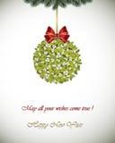 Tarjeta de felicitación de la Feliz Año Nuevo - muérdago Imagen de archivo libre de regalías