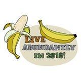 Tarjeta de felicitación de la Feliz Año Nuevo Plátanos por año del mono Vive abundante en 2016 el título aislado en fondo Vector  Fotografía de archivo libre de regalías