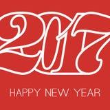 Tarjeta de felicitación de la Feliz Año Nuevo, plantilla creativa del diseño - 2017 Fotografía de archivo libre de regalías
