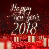 Tarjeta 2018 de felicitación de la Feliz Año Nuevo y caja de madera actual en el SP rojo Imagenes de archivo