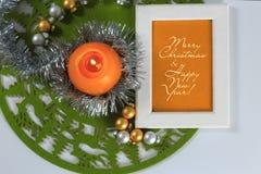 Tarjeta de felicitación de la Feliz Navidad Fotografía de archivo libre de regalías