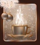 Tarjeta de felicitación de la feliz Navidad con el casquillo del coffe Foto de archivo