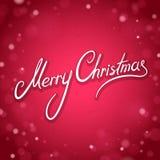 Tarjeta de felicitación de la Feliz Navidad con el fondo del rojo del brillo Foto de archivo libre de regalías