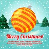 Tarjeta de felicitación de la Feliz Navidad con el juguete lindo de la bola Fotos de archivo