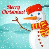 Tarjeta de felicitación de la Feliz Navidad con el muñeco de nieve lindo Imagen de archivo