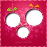 Tarjeta de felicitación de la Feliz Navidad con la chuchería Papel Imagen de archivo
