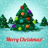 Tarjeta de felicitación de la Feliz Navidad con la Navidad linda Fotos de archivo libres de regalías