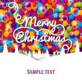 Tarjeta de felicitación de la Feliz Navidad con las letras del remolino Fotos de archivo libres de regalías