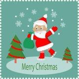 Tarjeta de felicitación de la Feliz Navidad con Papá Noel feliz stock de ilustración