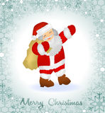 Tarjeta de felicitación de la Feliz Navidad con Santa Claus y la frontera de copos de nieve Fotos de archivo