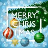 Tarjeta de felicitación de la Feliz Navidad con tipografía Foto de archivo libre de regalías