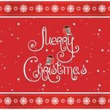 Tarjeta de felicitación de la Feliz Navidad de la impresión Fotos de archivo libres de regalías
