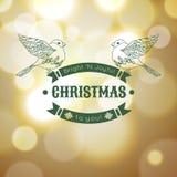 Tarjeta de felicitación de la Feliz Navidad del vintage con Foto de archivo libre de regalías